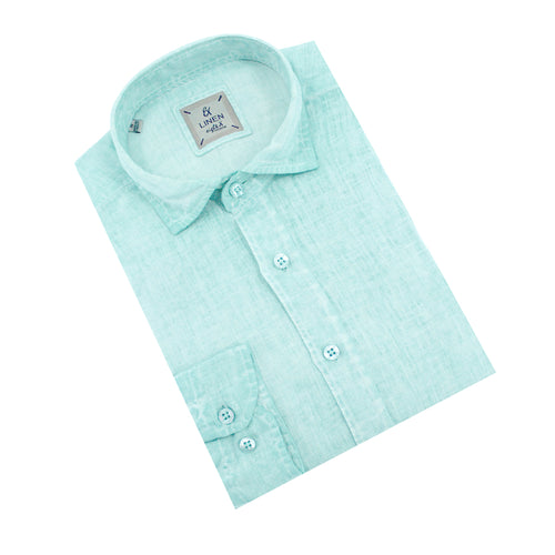 Solid Green Linen Shirt