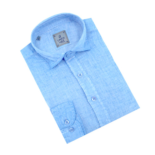 Solid Blue Linen Shirt
