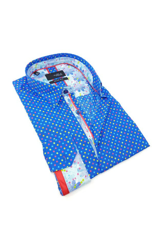 Blue Colorful Dot Digital Print Shirt With Trim M-10146