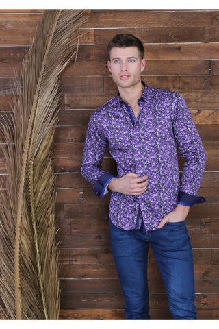 Purple Paisley Digital Print Shirt With Trim M-10152