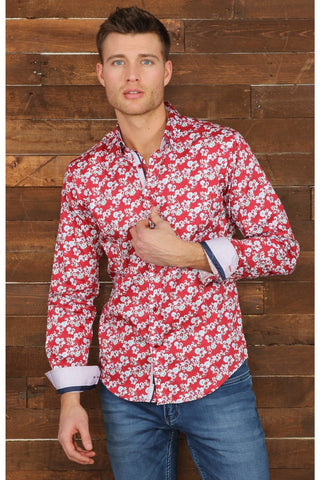Red Digital Print Floral Shirt With Trim M-10153