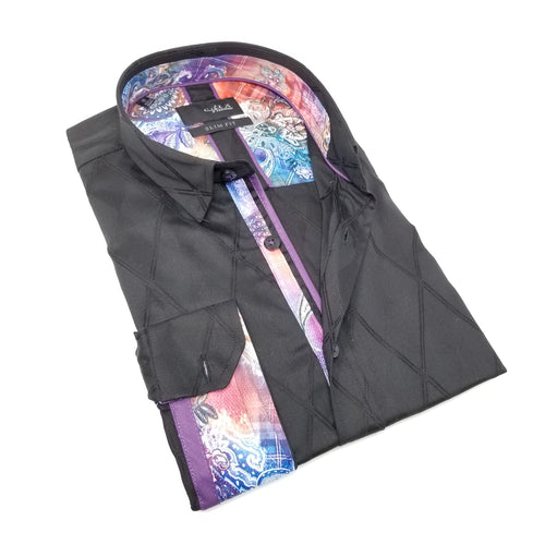 Black Diamond Jacquard Shirt With Colorful Trim M-10158