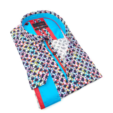Multi Color Digital Print Shirt With Blue/Red Trim  M-10188