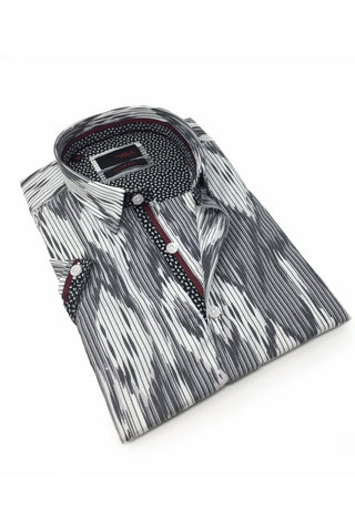 Grey Stripe And Melt Design Shirt With Trim #M-10318
