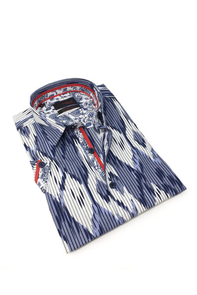 Navy Stripe And Melt Shirt With Trim #M-10319
