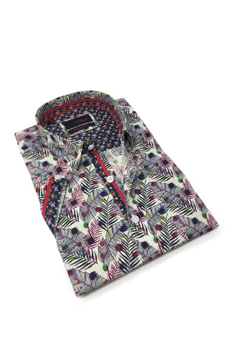 Feather and Floral Digital Print Shirt #M-10325