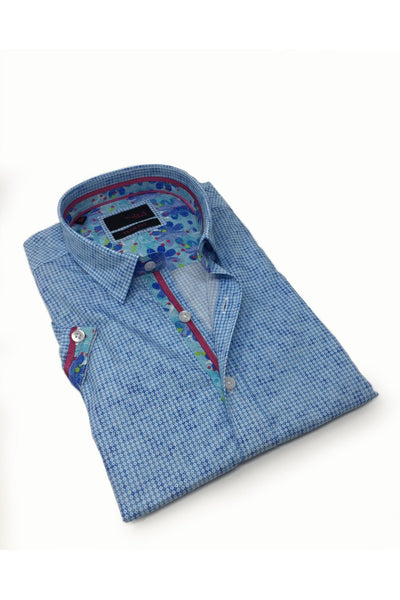 Pattern Blue Shirt With Flower Trim #M-10329
