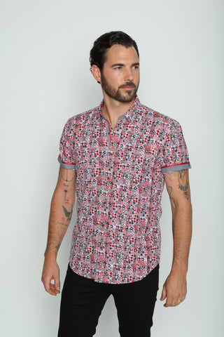 Retro Red Digital Print Shirt With Trim #M-10333