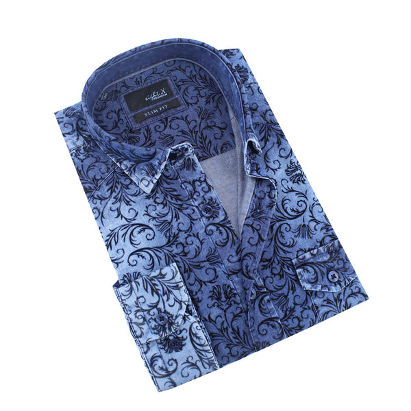 Denim Shirt with Baroque Print Flocking