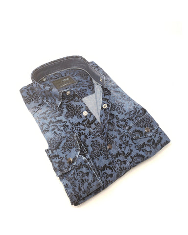 Snap Button Denim Shirt With Flocking