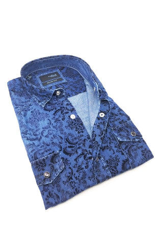 Denim Shirt With Snap Buttons and Black Flocking #M-10354