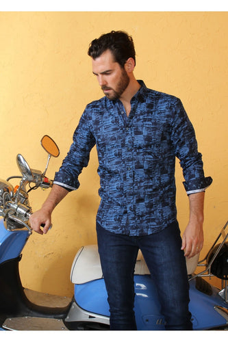 Blue Shadow Digital Print Shirt #M-10357