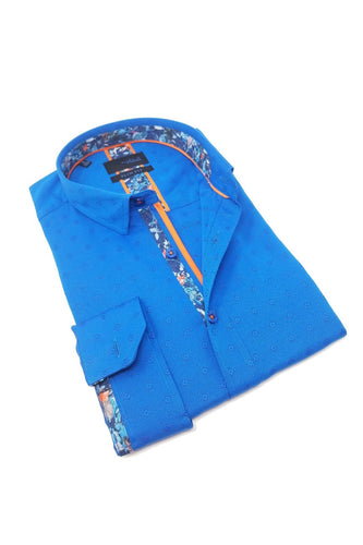 Turquoise Jacquard Shirt With Floral Trim #M-10367