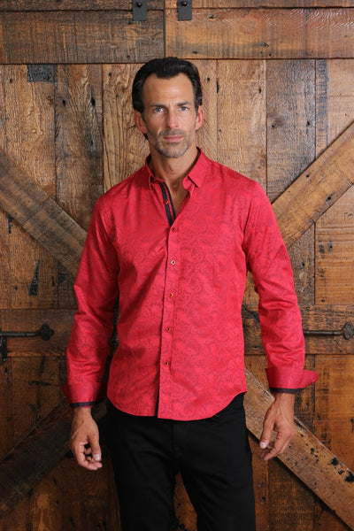 Red Paisley Print Shirt With Trim #M-10368