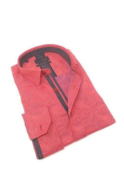 Red Paisley Jacquard Shirt With Trim #M-10368