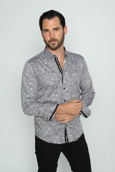 Grey Sketch Paisley Shirt With Trim #M-10369