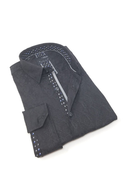 Black Paisley Jacquard Shirt With Trim #M-10375