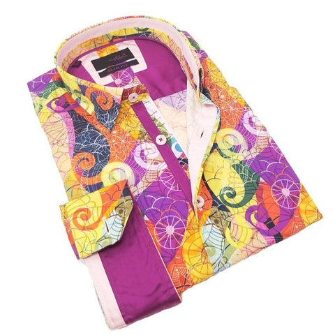 Colorful Multi Print Shirt With Trim #M-10382
