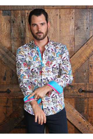 Colorful Floral Shirt With Trim #M-10383