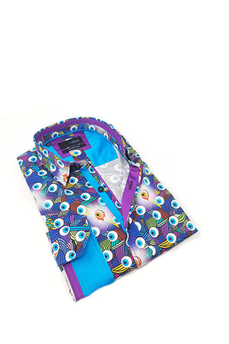 Radical Eyeball Print Shirt With Trim #M-10387