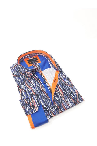 Currents Print Shirt With Trim #M-10390
