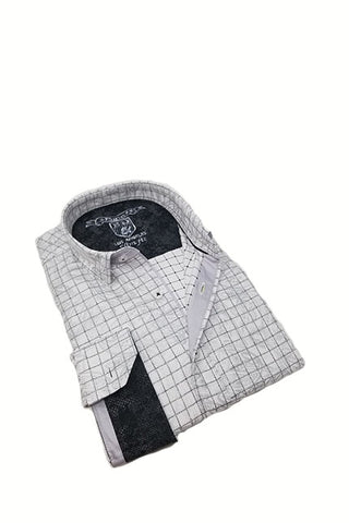 Check Shirt With Paisley And Trim #M-10402