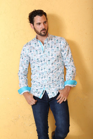 Men's Collection Print Shirt With Trim #M-10406