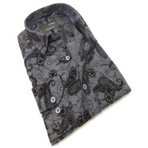 Navy Jacquard With Paisley Flocking