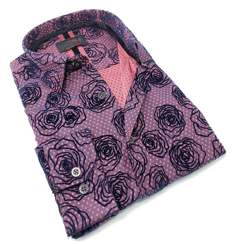 Burgundy Dot Jacquard With Rose Flocking