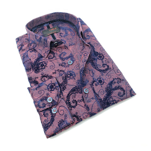 Men's slim fit burgundy collar button up dress shirt with floral vine flocking design