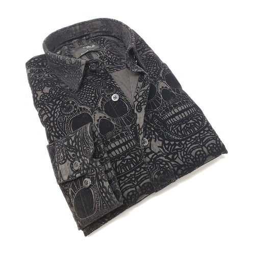 Men's slim fit black collar button up dress shirt with skull flocking design