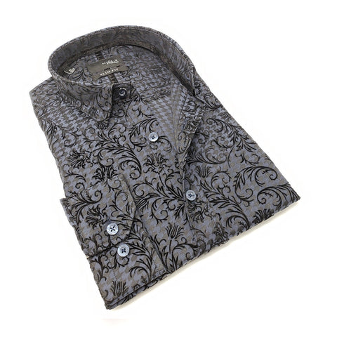 Men's slim fit navy collar button up dress shirt with flower vine flocking design
