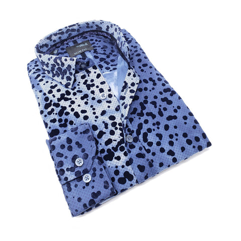 Men's slim fit navy collar button up dress shirt with spotted flocking design