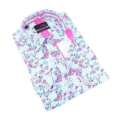 Men's slim fit white collar button up dress shirt with Turquoise Striped Pink Rose Print