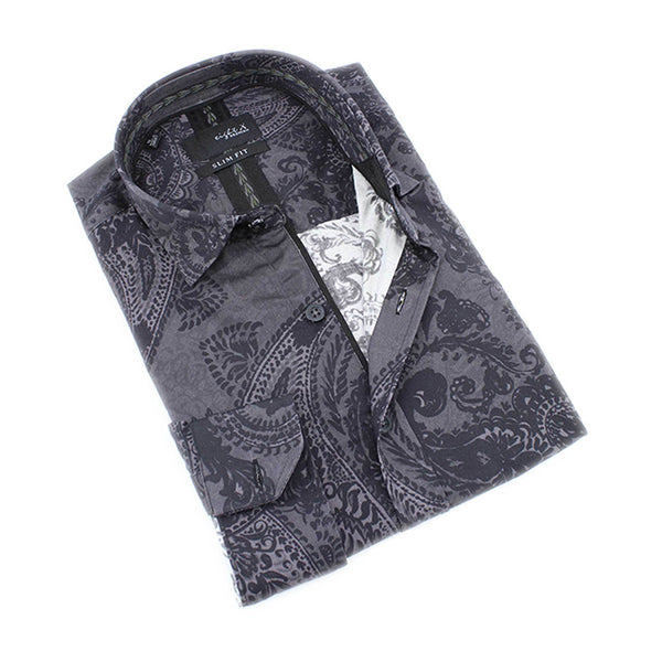 Men's slim fit black paisley print collar button up dress shirt