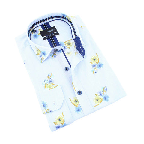 Men's slim fit light blue collar button up dress shirt with yellow floral print