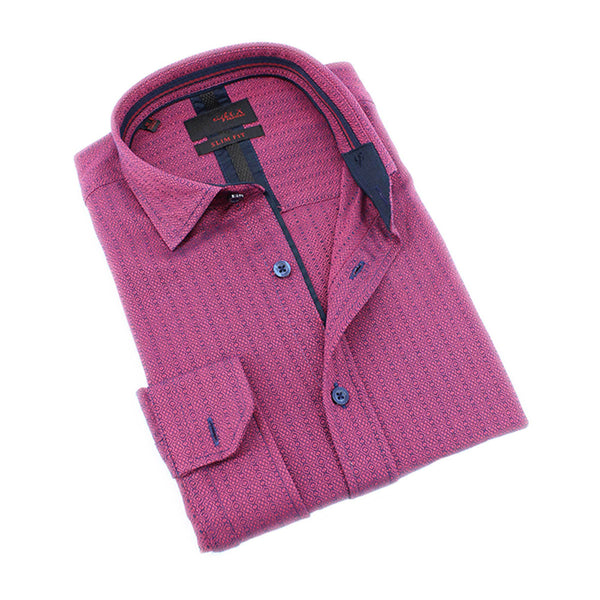 Men's slim fit fuchsia textured print collar button up dress shirt