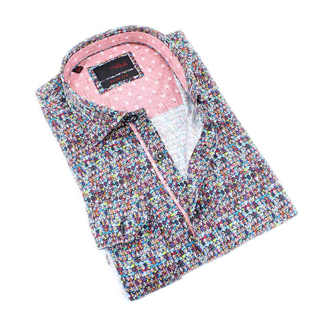 Men's slim fit digital portraits print collar button up dress shirt with pink trim