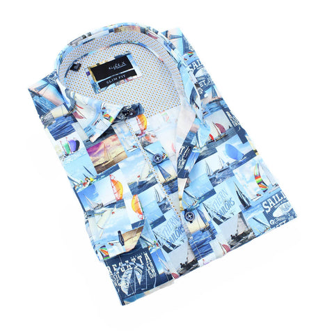 Men's slim fit blue sailboat digital print button up collar dress up shirt