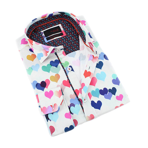 Men's slim fit colorful hearts print collar button up dress shirt