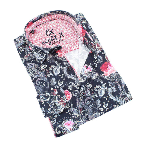Men's slim fit collar button up dress shirt with rose and paisley floral digital print