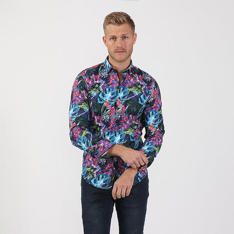Men's slim fit tropical floral colorful bold digital print button up collar dress shirt