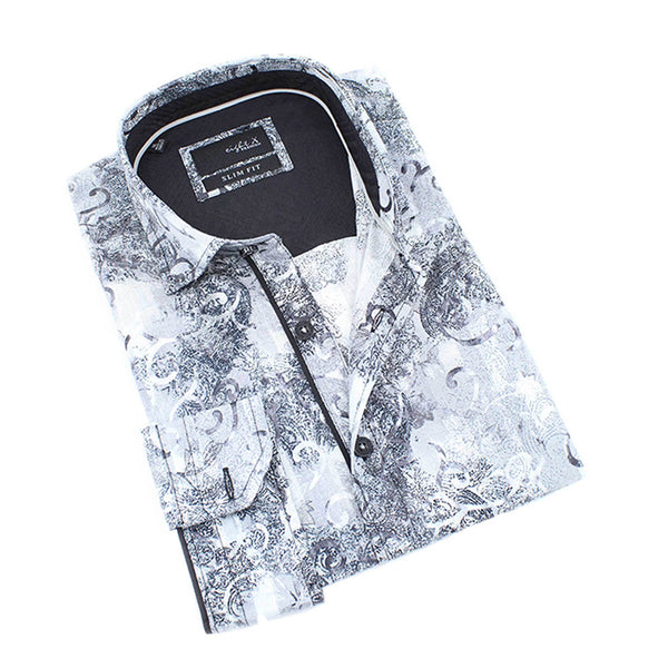 Men's grey slim fit collar button up dress shirt with paisley print