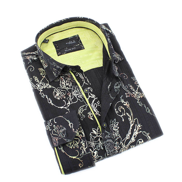 Men's black slim fit rose vine digital print collar button up dress shirt with lime green trim