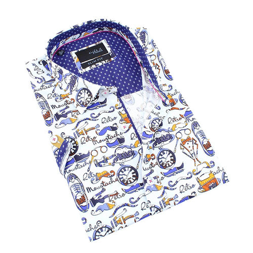 Men's white slim fit collar button up short sleeve dress shirt with gentlemen's print
