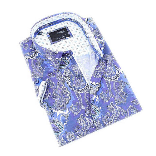 Men's slim fit navy blue paisley digital print button up collar short sleeve shirt