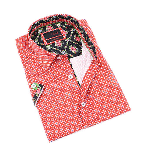 Men's slim fit red digital pattern digital print short sleeve collar button up dress shirt  with black floral trim