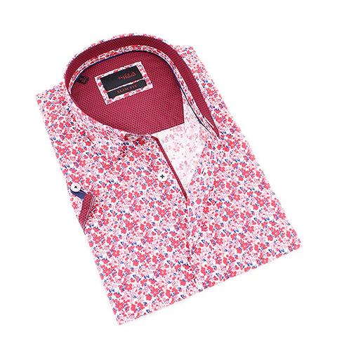 Men's slim fit red floral pattern digital print collar button up dress short sleeve shirt