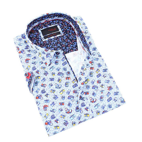 Men's slim fit multi color short sleeve collar button up dress shirt with camera print design