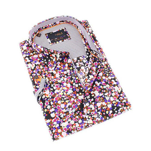Men's slim fit multi color short sleeve collar button up shirt with spark print design